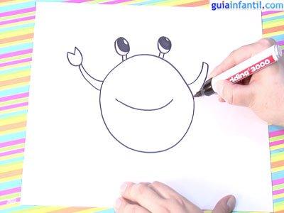 Dibujo de un cangrejo.Paso 3.
