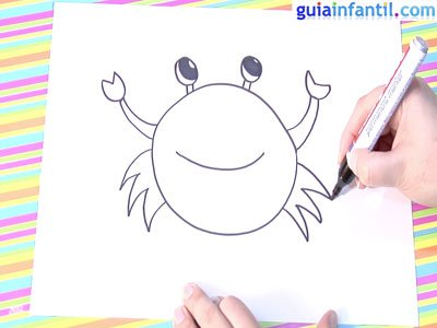 Dibujo de un cangrejo.Paso 4.