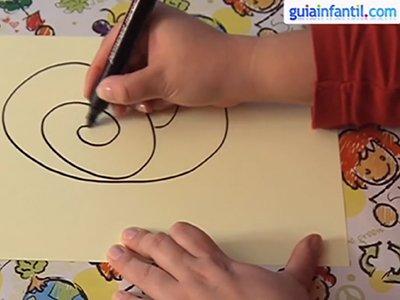 Dibujar un caracol. Paso 1.