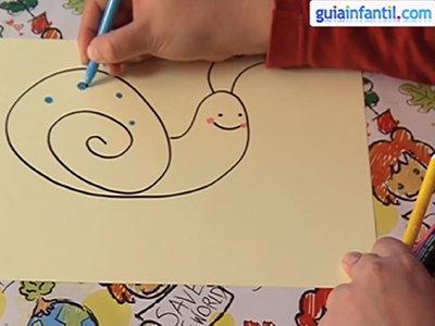 Dibujar un caracol. Paso 3.