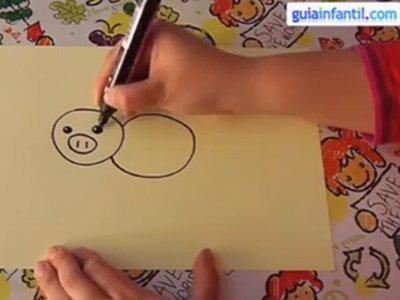 Aprende a dibujar un cerdo. Paso 2.