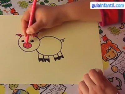 Aprende a dibujar un cerdo. Paso 4.