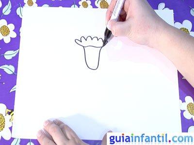Dibujo de un clavel. Paso 1.