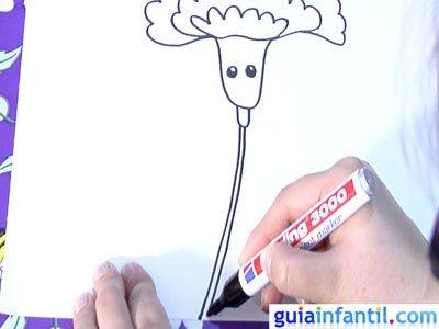 Dibujo de un clavel. Paso 3.