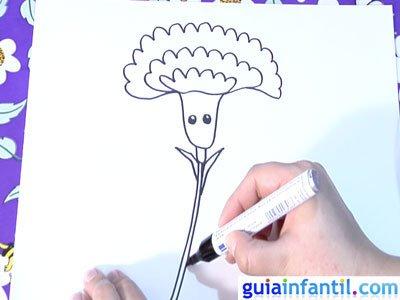 Dibujo de un clavel. Paso 4.