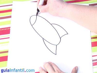 Dibujo de un cohete. Paso 2.