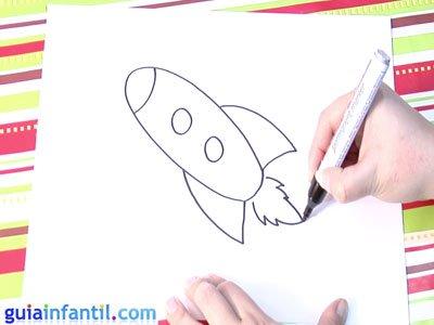 Dibujo de un cohete. Paso 3.