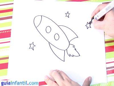 Dibujo de un cohete. Paso 4.