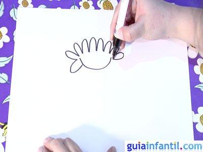 Dibujo de un crisantemo. Paso 1.