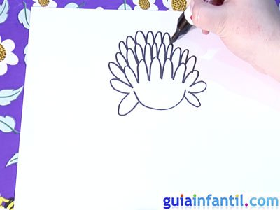 Dibujo de un crisantemo. Paso 2.