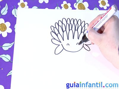 Dibujo de un crisantemo. Paso 3.