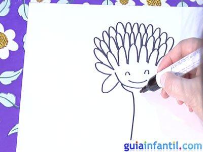 Dibujo de un crisantemo. Paso 4.