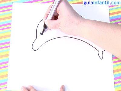 Dibujo delfín. Paso 2.