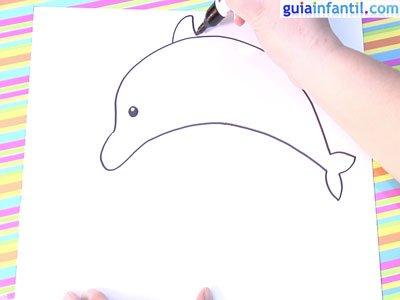 Dibujo delfín. Paso 3.