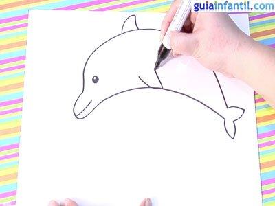 Dibujo delfín. Paso 4.