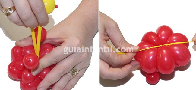 Diadema con flor hecha con globos. Paso 3