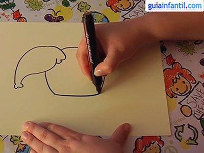 Dibujar un elefante. Paso 2.