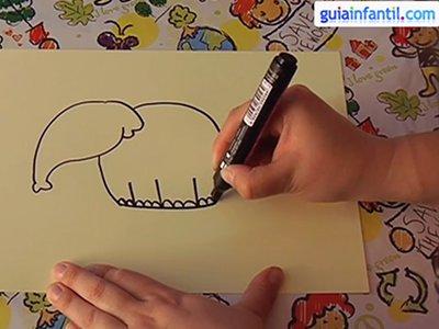 Dibujar un elefante. Paso 3.
