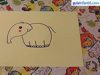 Dibujar un elefante. Paso 4.
