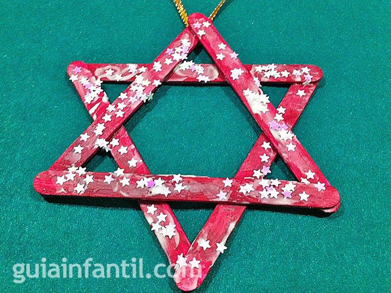 Estrella de Navidad. Manualidad con palos de helado