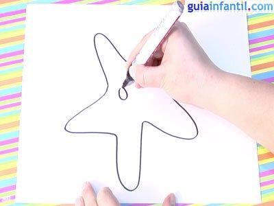 Dibujo estrella de mar. Paso 1.