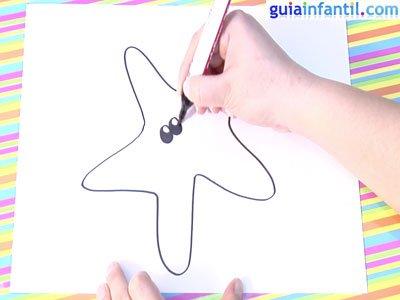 Dibujo estrella de mar. Paso 2.