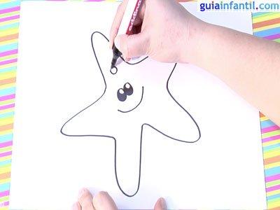 Dibujo estrella de mar. Paso 3.