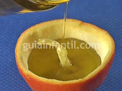 Vela de aceite con naranja. Paso 3