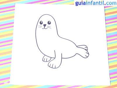 Dibujo de una foca. Paso 4.