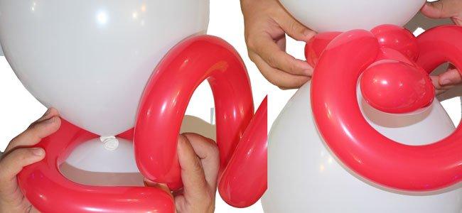Muñeco de nieve con globos. Paso 5