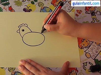 Dibujar una gallina. Paso 2.