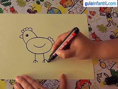 Dibujar una gallina. Paso 3.