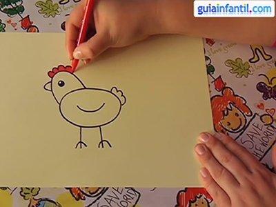 Dibujar una gallina. Paso 4.