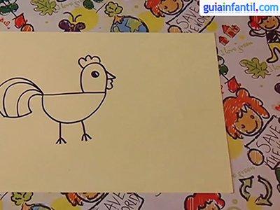 Aprende a dibujar un gallo. Paso 3.