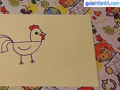 Aprende a dibujar un gallo. Paso 4.
