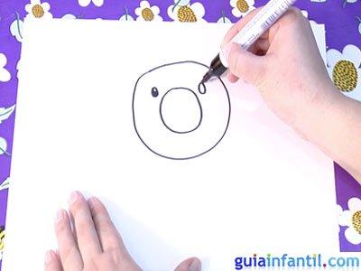 Dibujo de un girasol. Paso 1.