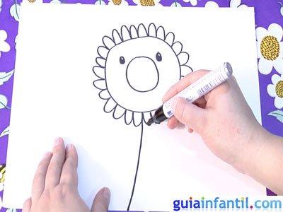 Dibujo de un girasol. Paso 3.