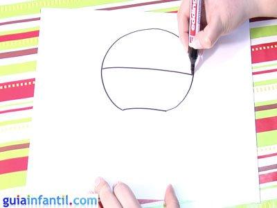 Dibujo de un globo. Paso 1.