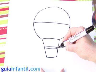 Dibujo de un globo. Paso 2.