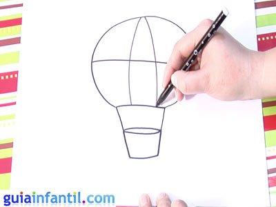Dibujo de un globo. Paso 3.