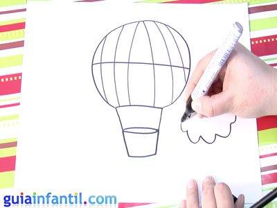 Dibujo de un globo. Paso 4.