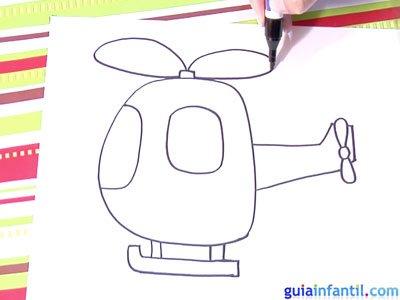 Dibujo de un helicóptero. Paso 3.