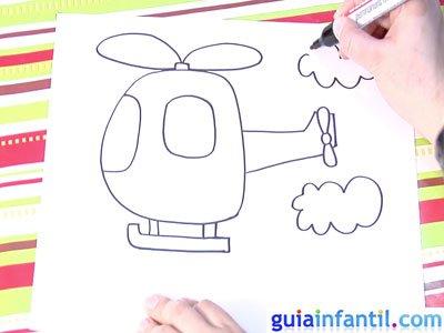 Dibujo de un helicóptero. Paso 4.