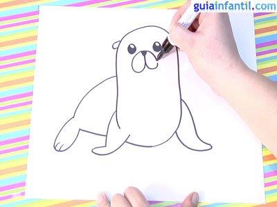 Dibujo león marino.Paso 4.