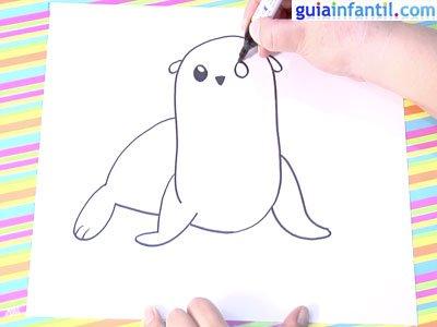 Dibujo león marino.Paso 3.