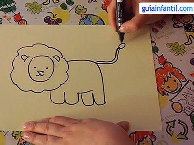 Dibujar un león. Paso 3.