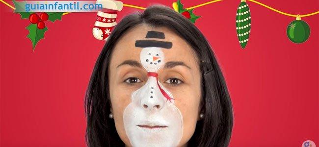 Maquillaje de Muñeco de nieve para niños. Paso 3