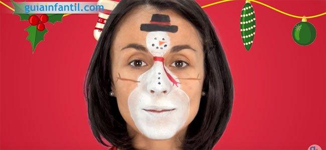 Maquillaje de Muñeco de nieve para niños. Paso 4