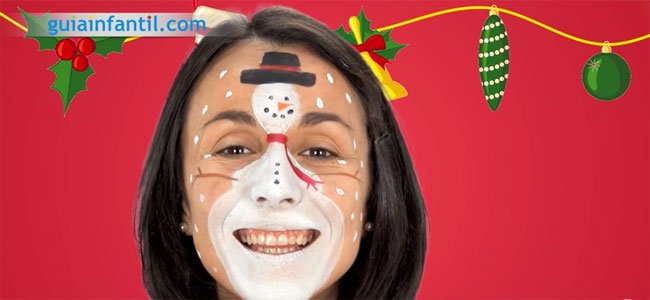 Maquillaje de Muñeco de nieve para niños. Paso 5