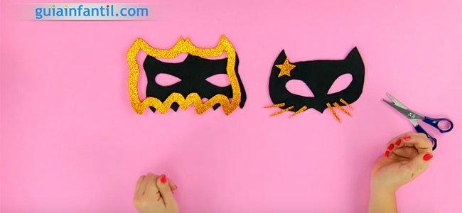 Máscara de Catwoman y Batman. Paso 4
